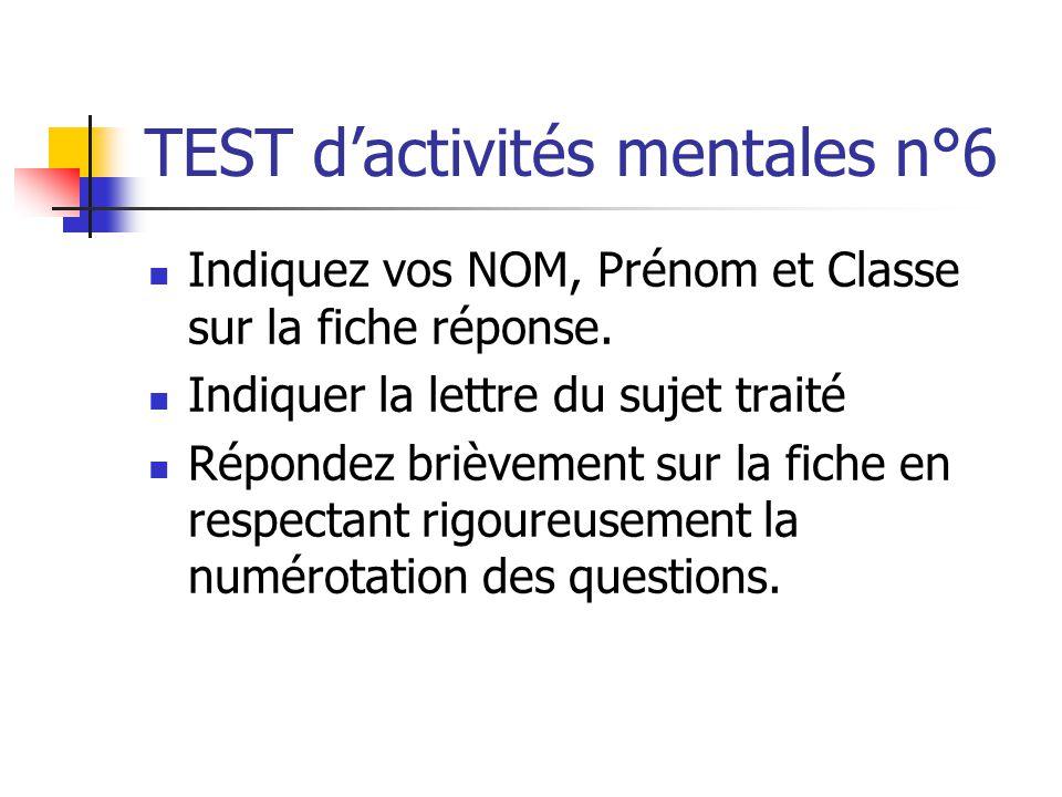 TEST d'activités mentales n°6