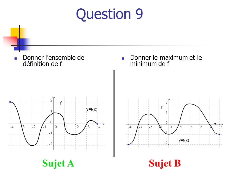 Question 9 Sujet A Sujet B Donner l'ensemble de définition de f