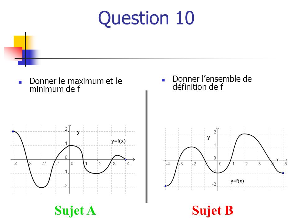 Question 10 Sujet A Sujet B Donner l'ensemble de définition de f