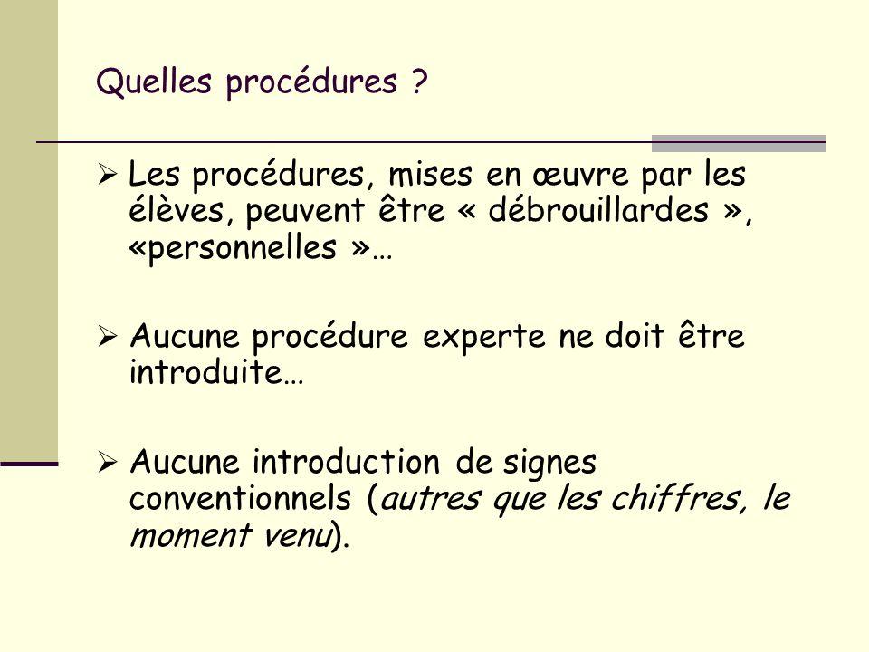 Quelles procédures Les procédures, mises en œuvre par les élèves, peuvent être « débrouillardes », «personnelles »…