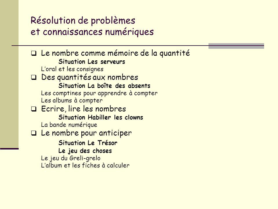 Résolution de problèmes et connaissances numériques