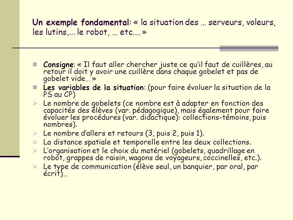 Un exemple fondamental: « la situation des … serveurs, voleurs, les lutins,... le robot, … etc.… »
