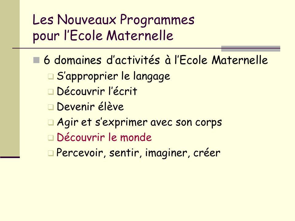 Les Nouveaux Programmes pour l'Ecole Maternelle