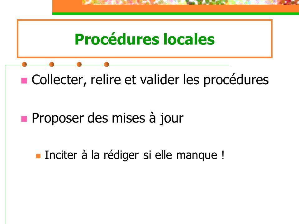 Procédures locales Collecter, relire et valider les procédures