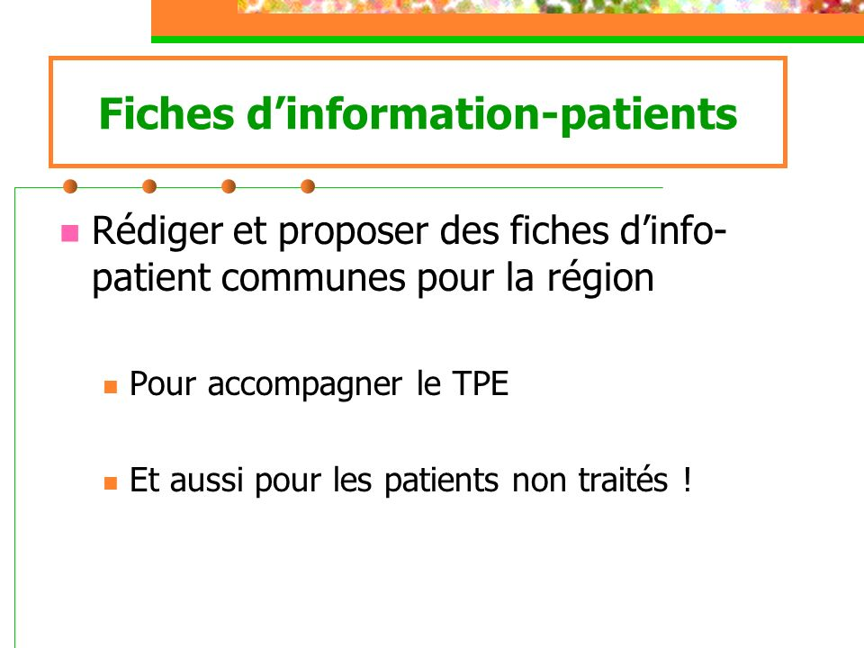 Fiches d'information-patients