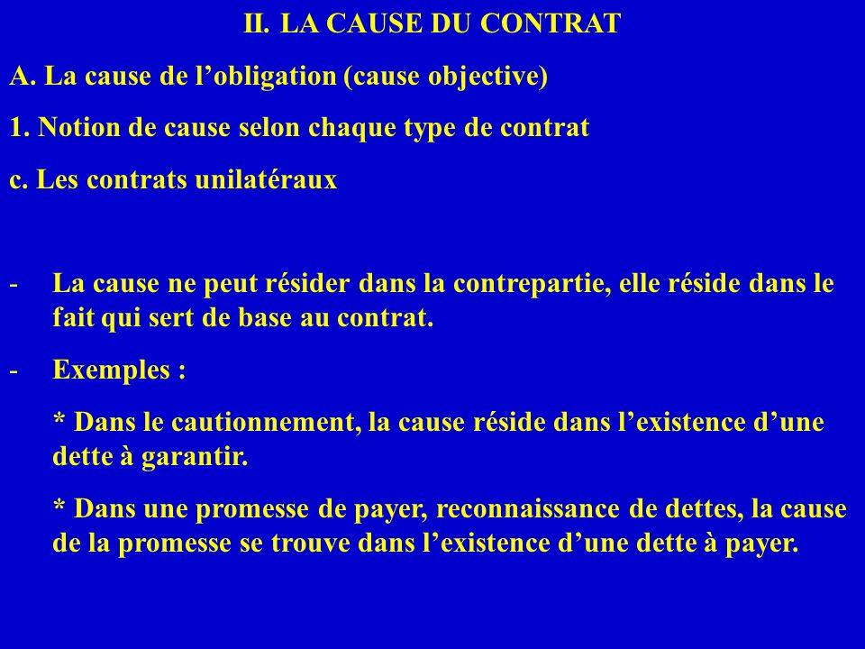 II. LA CAUSE DU CONTRATA. La cause de l'obligation (cause objective) 1. Notion de cause selon chaque type de contrat.
