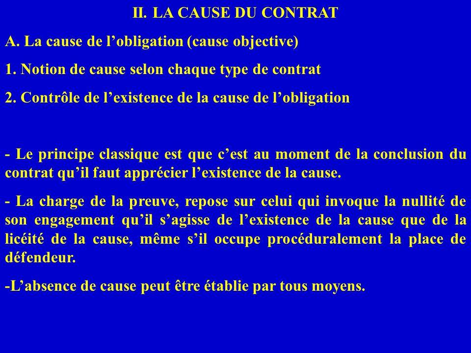 II. LA CAUSE DU CONTRAT A. La cause de l'obligation (cause objective) 1. Notion de cause selon chaque type de contrat.