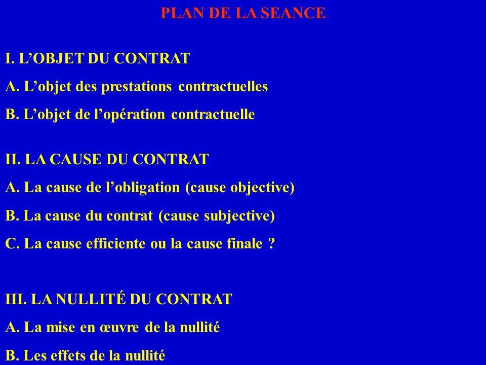 PLAN DE LA SEANCE I. L'OBJET DU CONTRAT