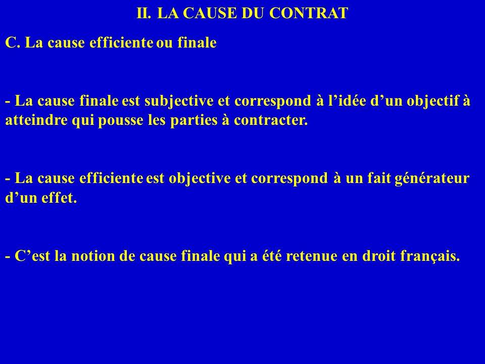 II. LA CAUSE DU CONTRAT C. La cause efficiente ou finale.