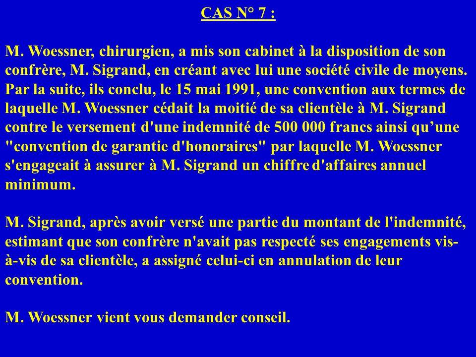 CAS N° 7 : M. Woessner, chirurgien, a mis son cabinet à la disposition de son confrère, M. Sigrand, en créant avec lui une société civile de moyens.