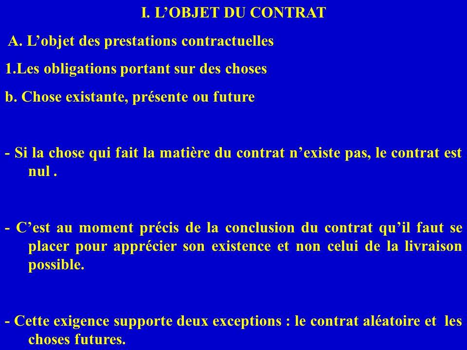 I. L'OBJET DU CONTRAT A. L'objet des prestations contractuelles. 1.Les obligations portant sur des choses.