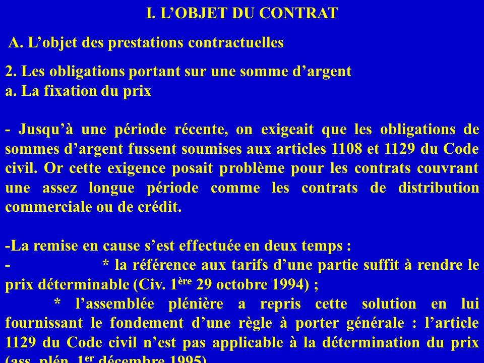 I. L'OBJET DU CONTRAT A. L'objet des prestations contractuelles. 2. Les obligations portant sur une somme d'argent.