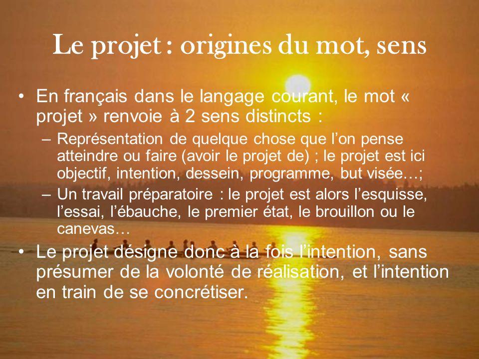Le projet : origines du mot, sens