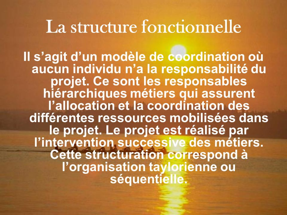 La structure fonctionnelle