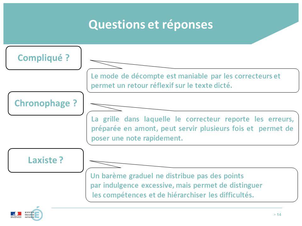 Questions et réponses Compliqué Chronophage Laxiste