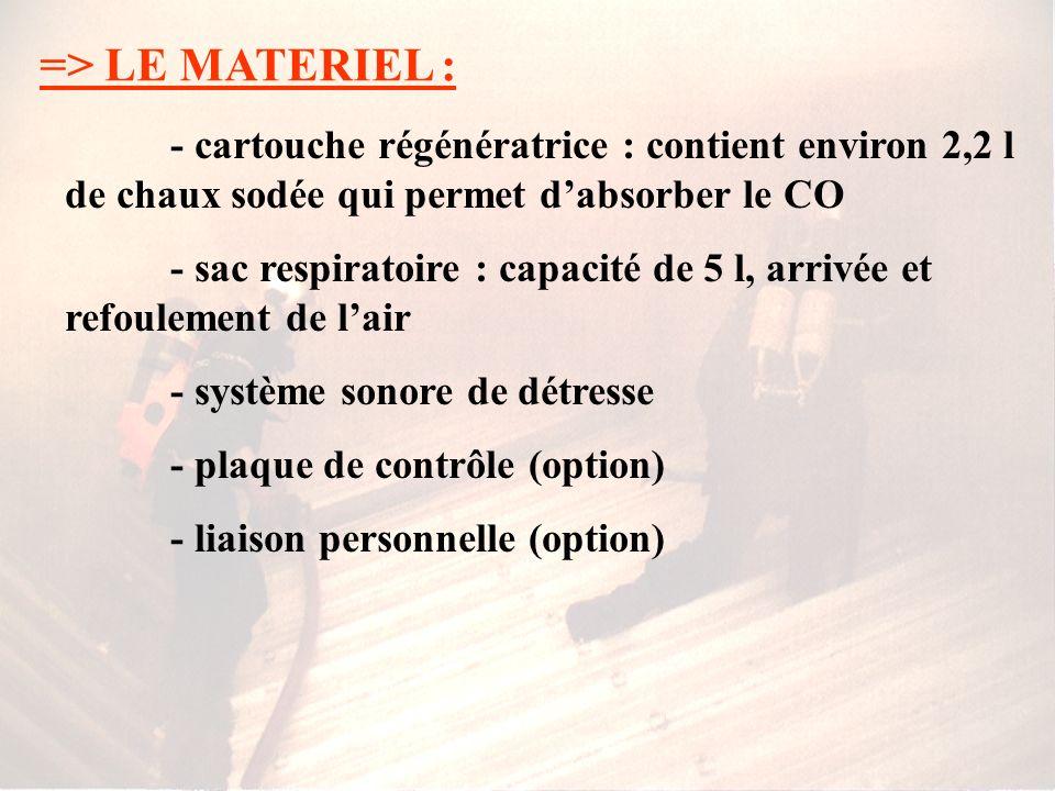 => LE MATERIEL : - cartouche régénératrice : contient environ 2,2 l de chaux sodée qui permet d'absorber le CO.