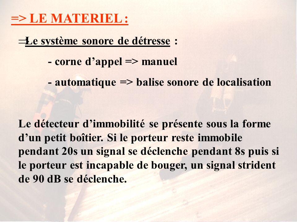 => LE MATERIEL : Le système sonore de détresse :