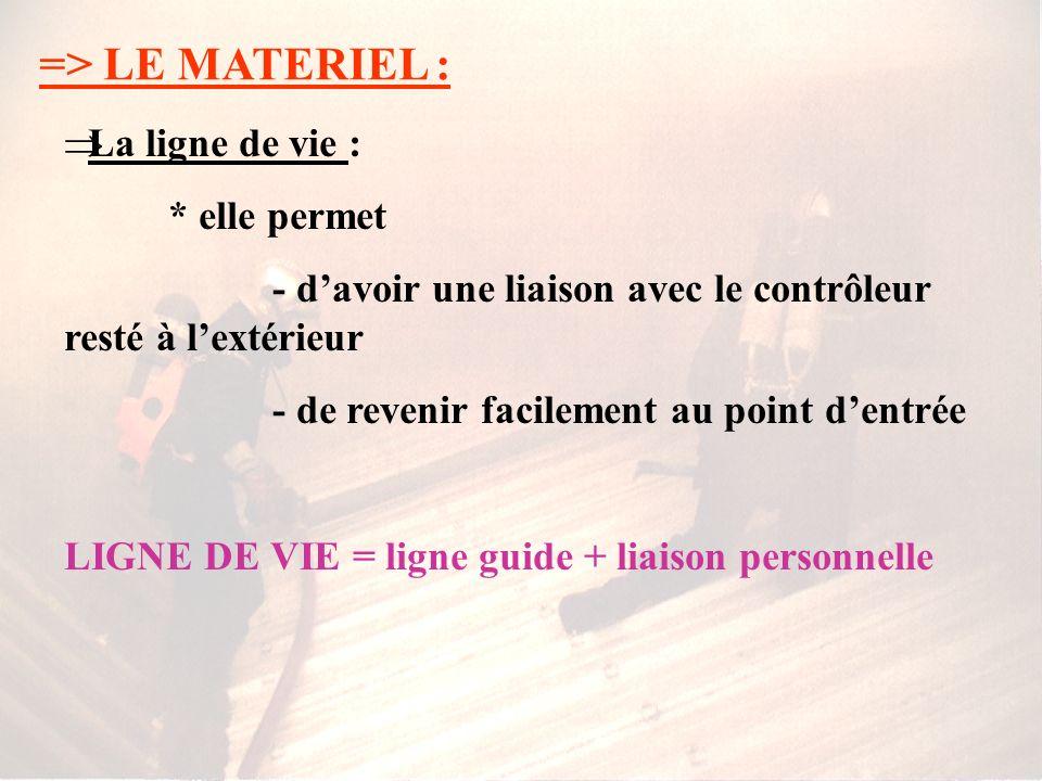 => LE MATERIEL : La ligne de vie : * elle permet