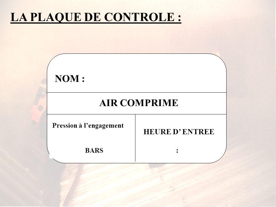 LA PLAQUE DE CONTROLE : NOM : AIR COMPRIME HEURE D' ENTREE :
