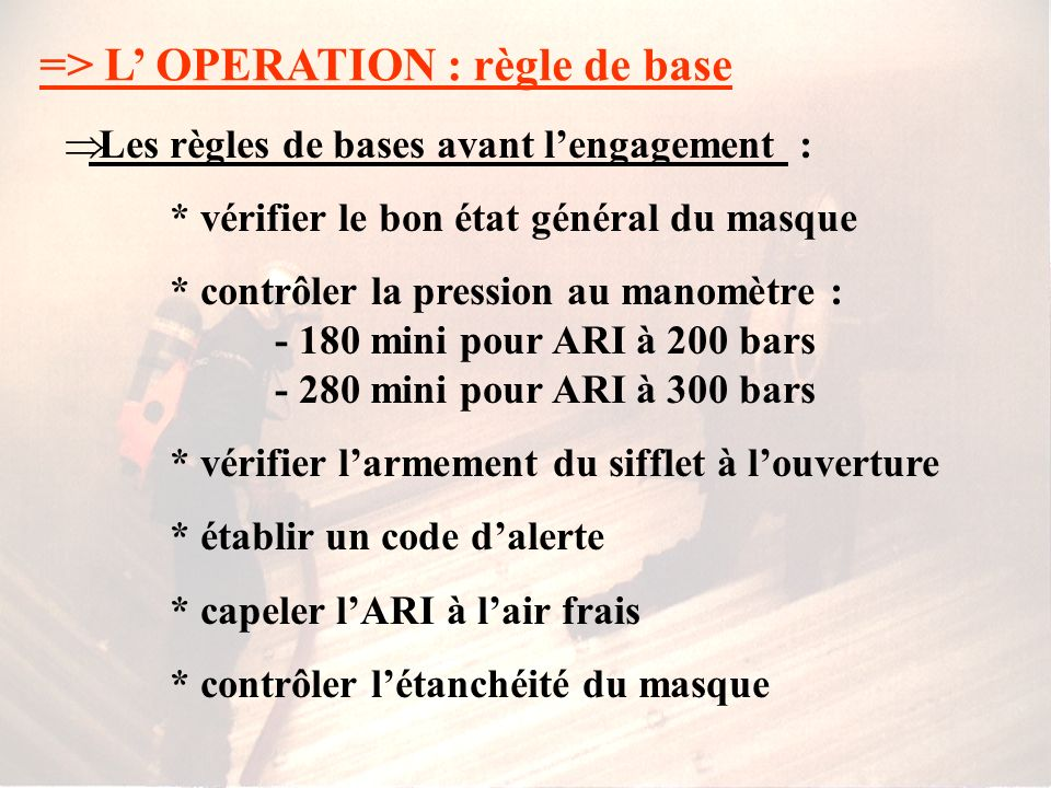 => L' OPERATION : règle de base