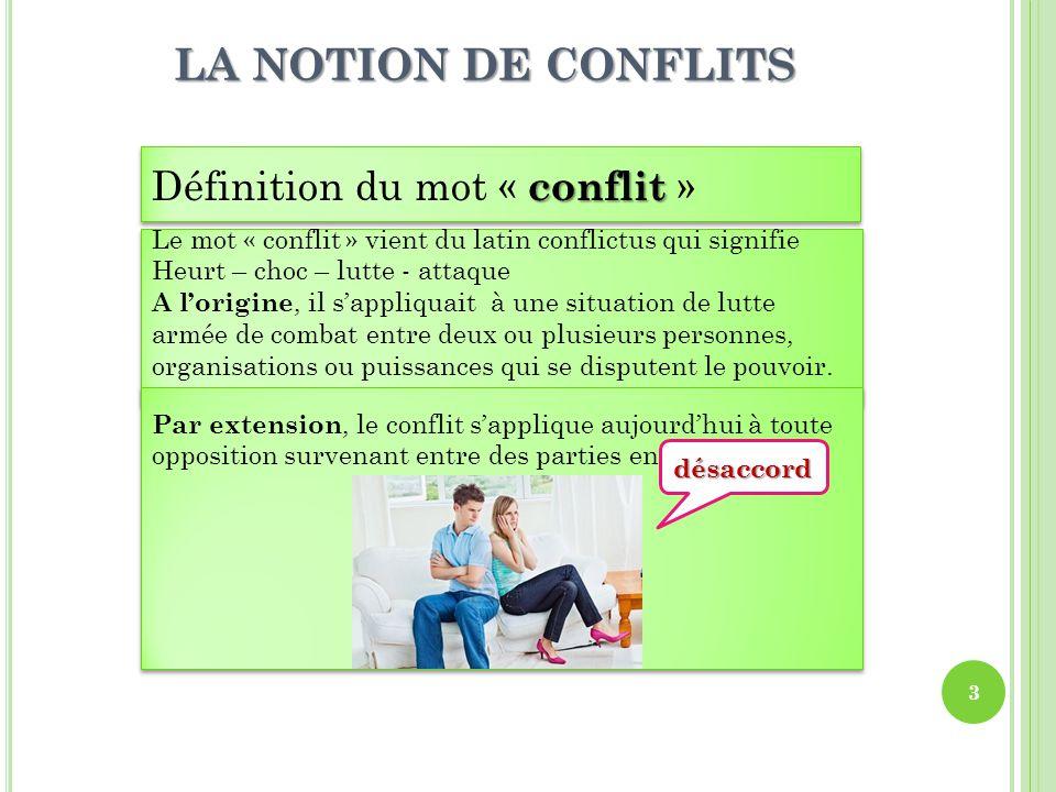 LA NOTION DE CONFLITS Définition du mot « conflit »