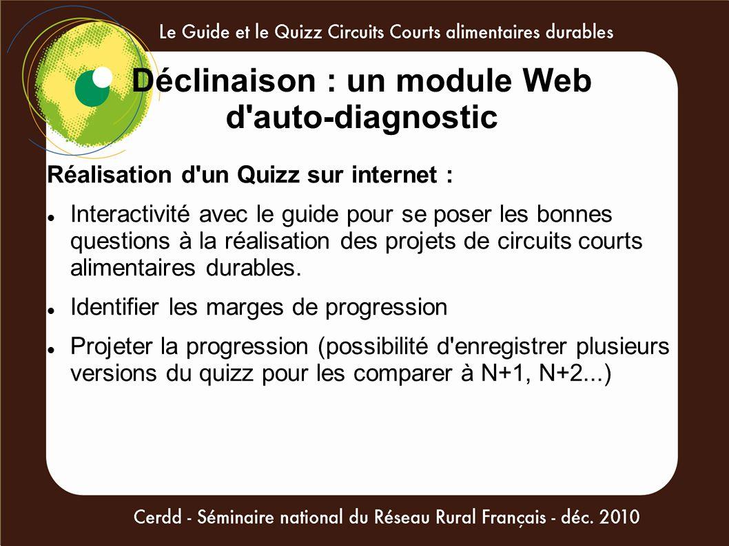 Déclinaison : un module Web d auto-diagnostic