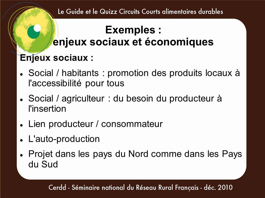 Exemples : enjeux sociaux et économiques