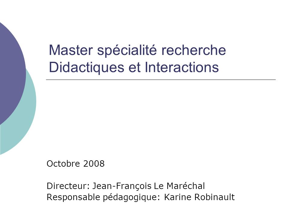 Master spécialité recherche Didactiques et Interactions
