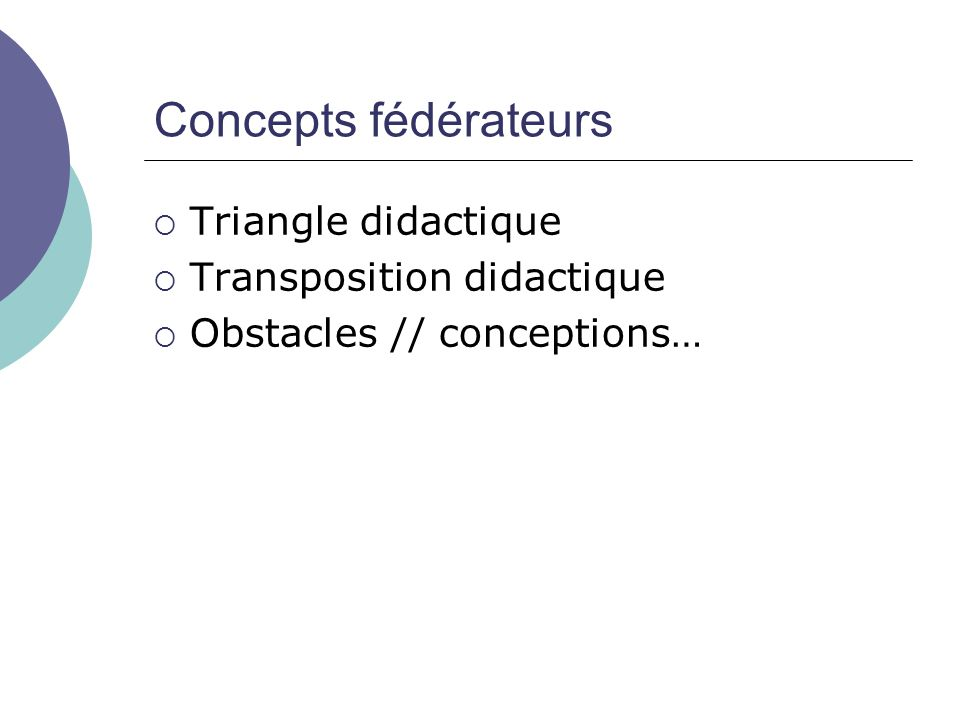 Concepts fédérateurs Triangle didactique Transposition didactique