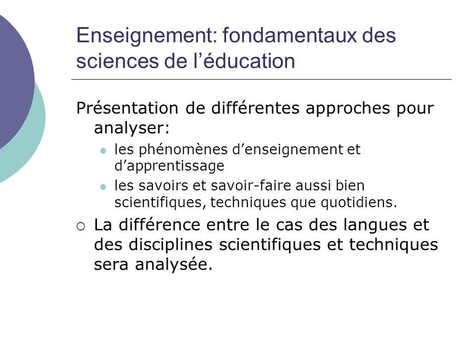 Enseignement: fondamentaux des sciences de l'éducation