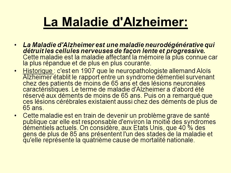 La Maladie d Alzheimer: