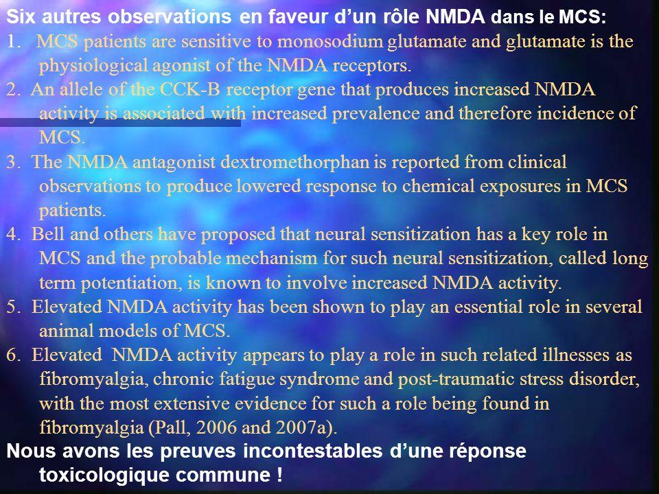 Six autres observations en faveur d'un rôle NMDA dans le MCS: