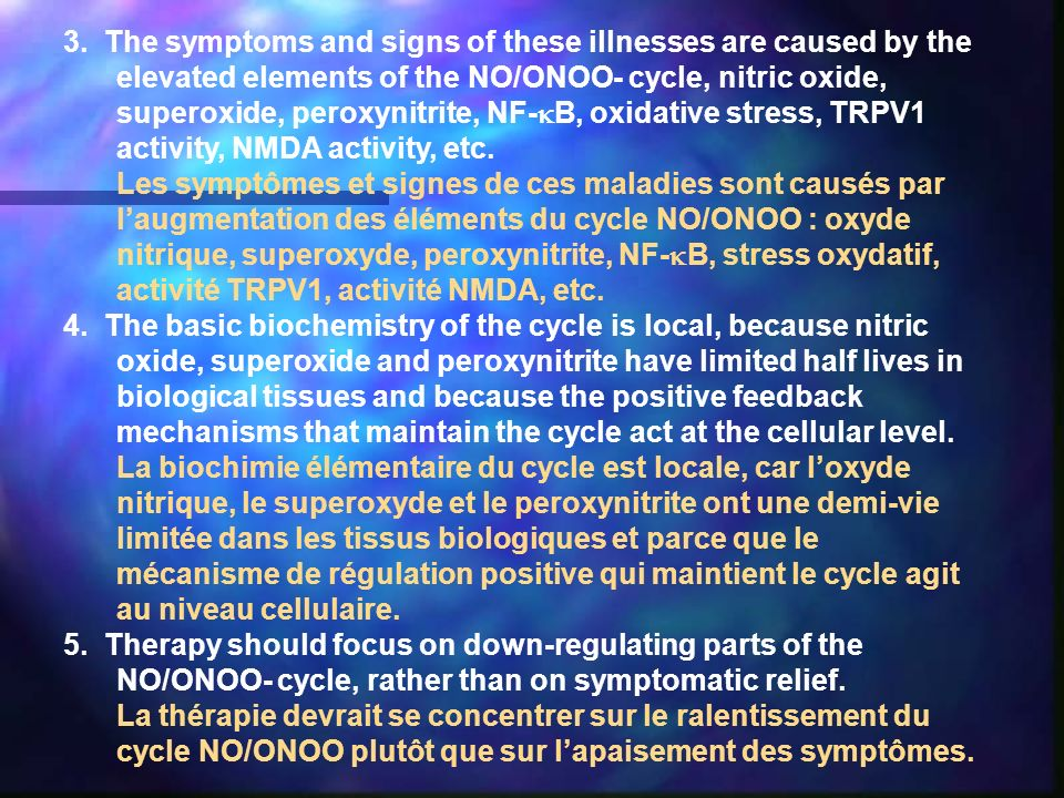3. The symptoms and signs of these illnesses are caused by the elevated elements of the NO/ONOO- cycle, nitric oxide, superoxide, peroxynitrite, NF-B, oxidative stress, TRPV1 activity, NMDA activity, etc.