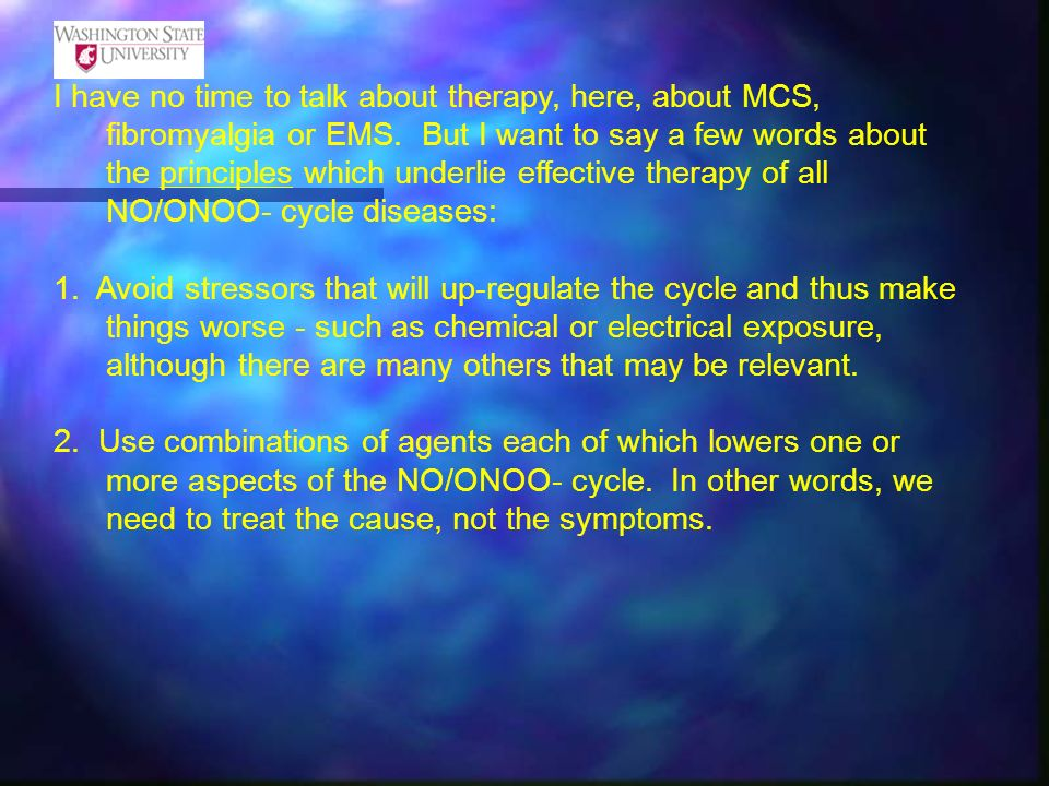 I have no time to talk about therapy, here, about MCS, fibromyalgia or EMS. But I want to say a few words about the principles which underlie effective therapy of all NO/ONOO- cycle diseases:
