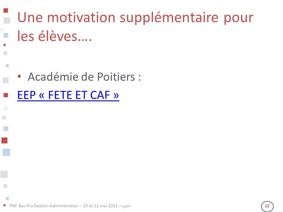 Une motivation supplémentaire pour les élèves….