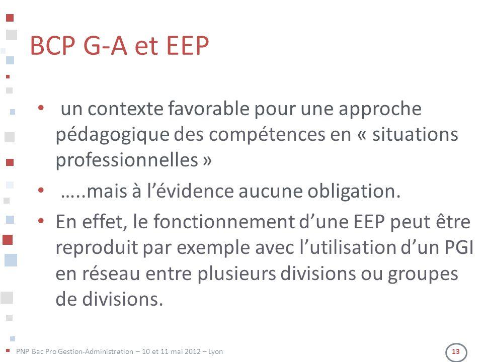 BCP G-A et EEP un contexte favorable pour une approche pédagogique des compétences en « situations professionnelles »