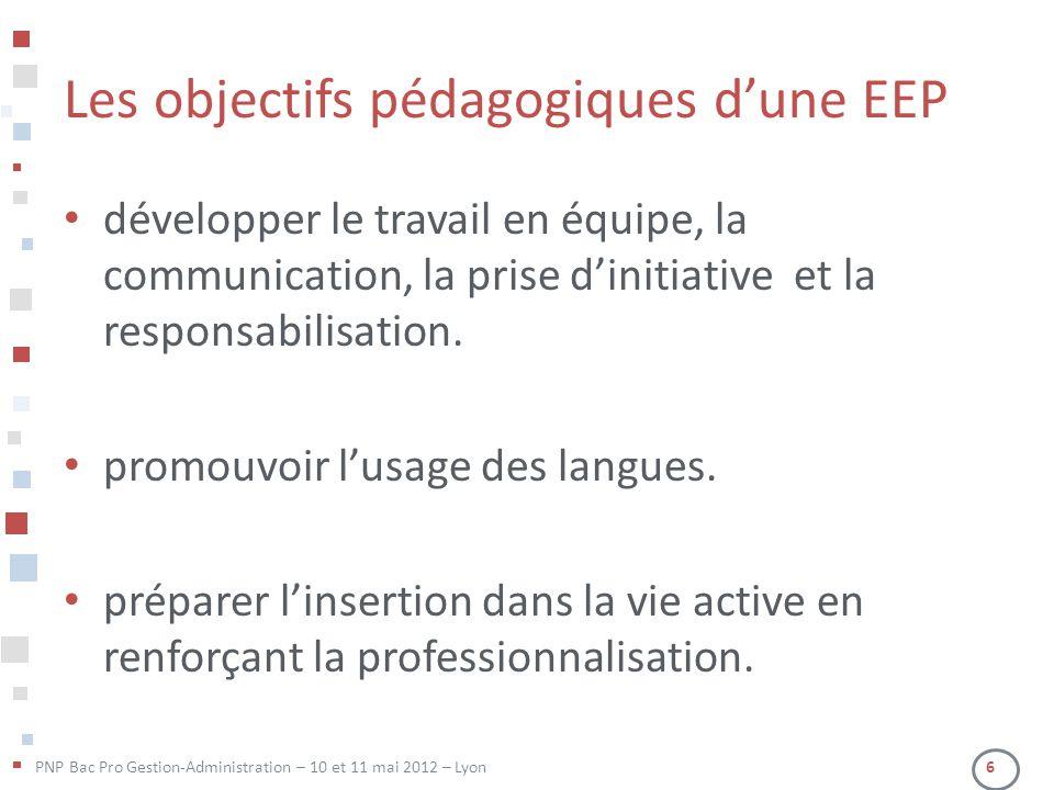 Les objectifs pédagogiques d'une EEP