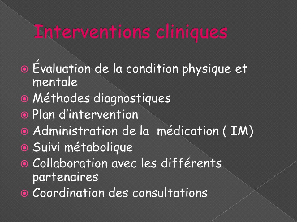 Interventions cliniques
