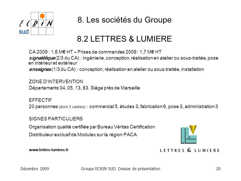 8. Les sociétés du Groupe 8.2 LETTRES & LUMIERE