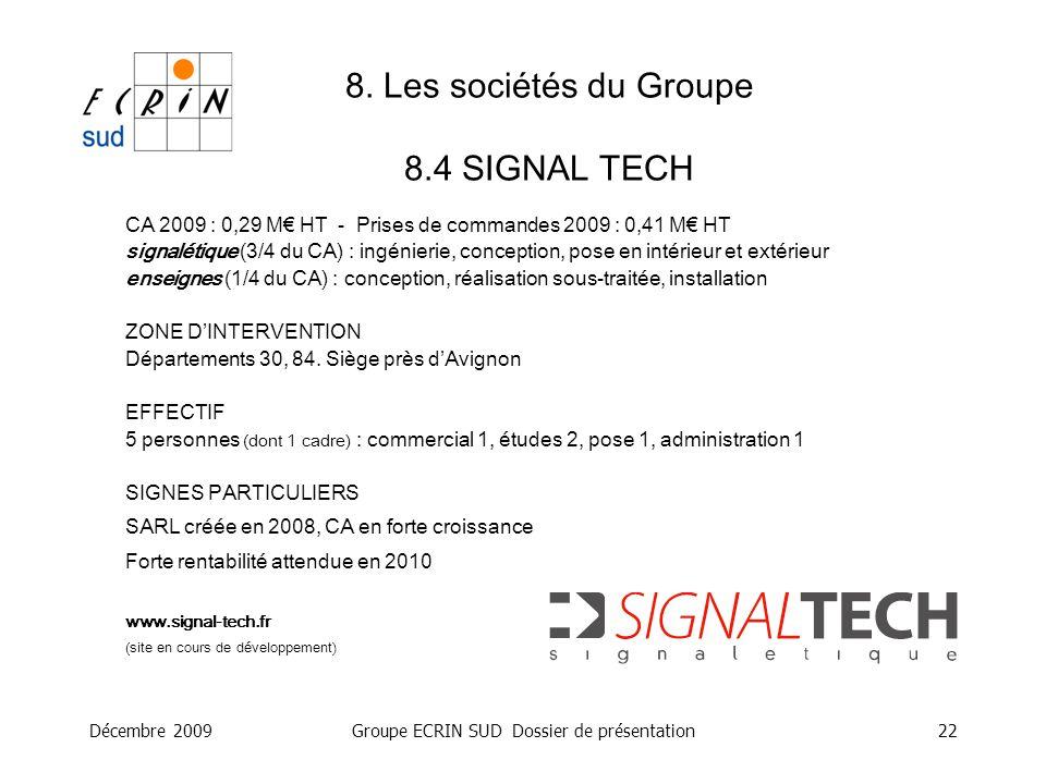 8. Les sociétés du Groupe 8.4 SIGNAL TECH