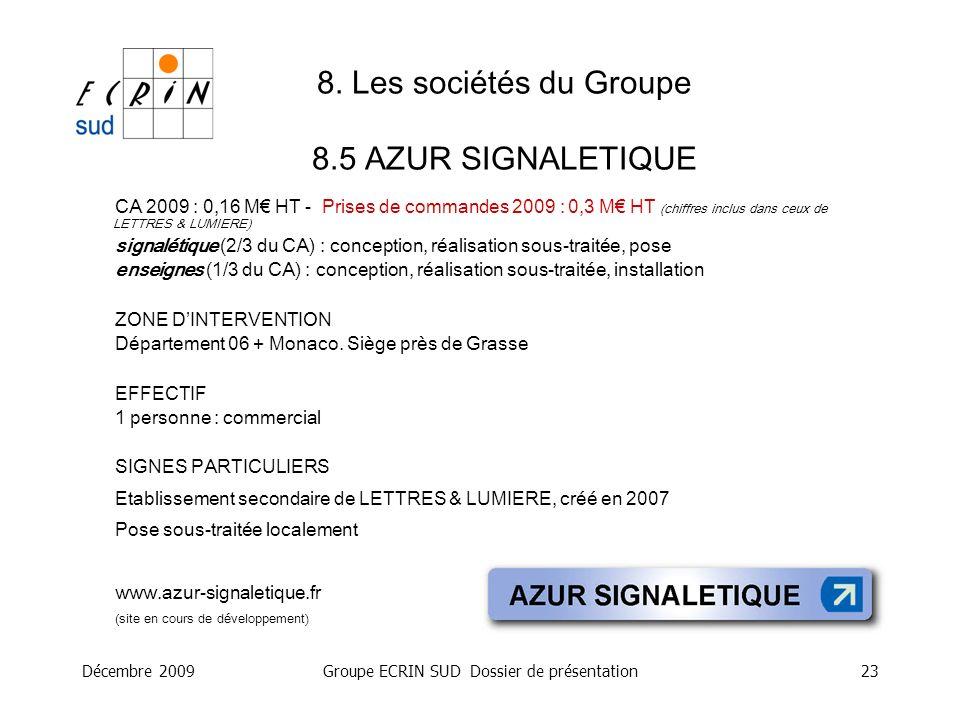8. Les sociétés du Groupe 8.5 AZUR SIGNALETIQUE