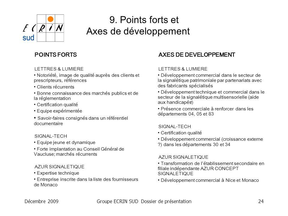 9. Points forts et Axes de développement