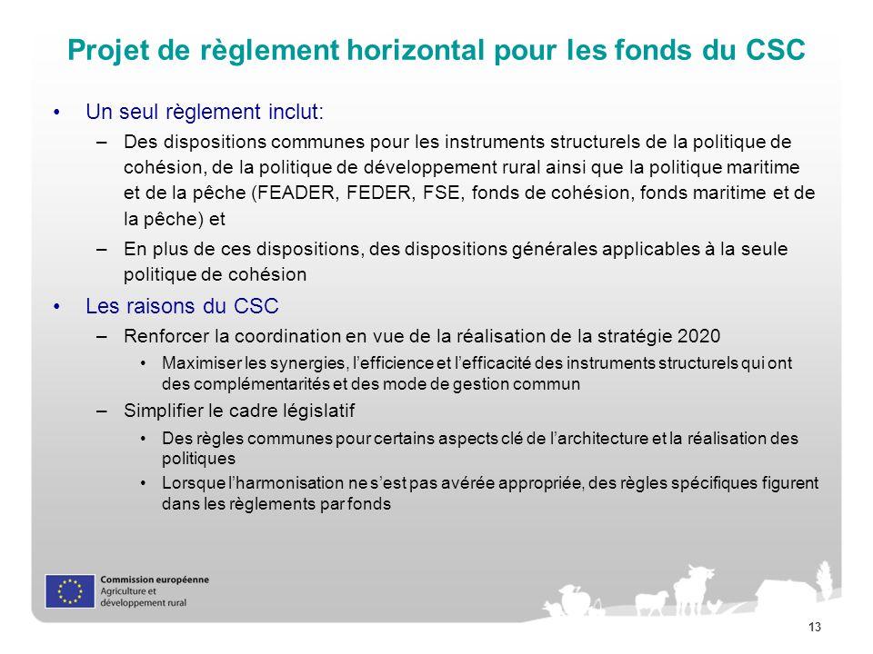 Projet de règlement horizontal pour les fonds du CSC