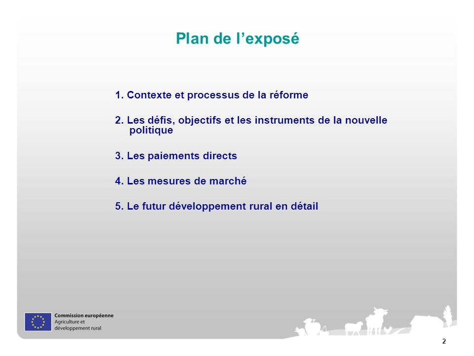 Plan de l'exposé 1. Contexte et processus de la réforme