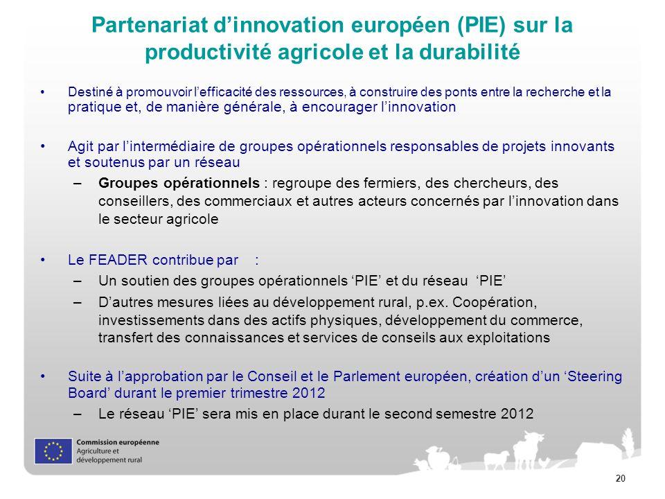 Partenariat d'innovation européen (PIE) sur la productivité agricole et la durabilité