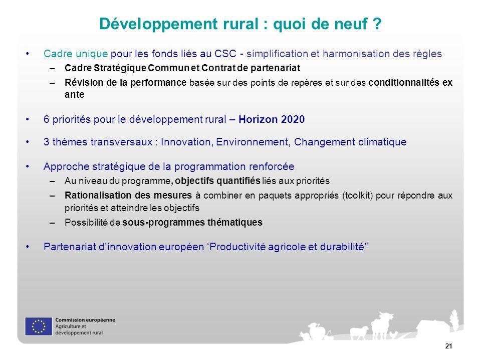 Développement rural : quoi de neuf