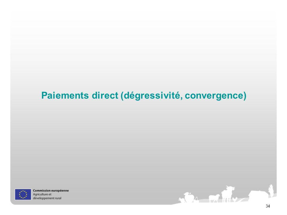 Paiements direct (dégressivité, convergence)