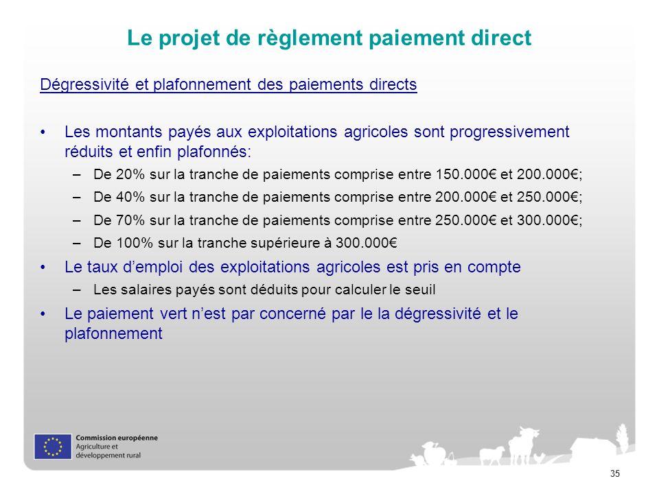 Le projet de règlement paiement direct