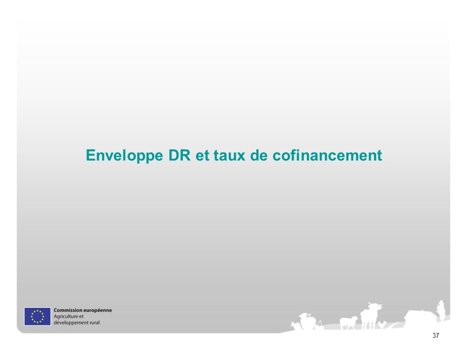 Enveloppe DR et taux de cofinancement