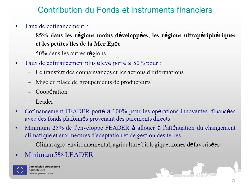 Contribution du Fonds et instruments financiers